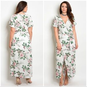 NWT White floral faux wrap dress
